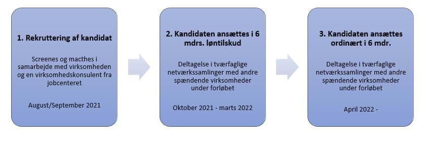 1. Rekruttering af kandidat. 2. Kandidatansættes i 6 mdrs. løntilskud. 3. Kandidat ansættes ordinært i 6 mdr.